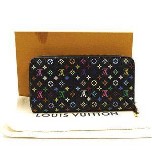 Louis Vuitton Black Multicolore Zip Around Wallet